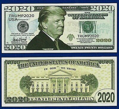 1- Re Elect President  Donald Trump 2020 Dollar Bill W/clear protector sleeve G4