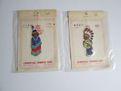 2 Vintage Patches Native American Indian Chief & Squaw NIP Loewenthal Trimming