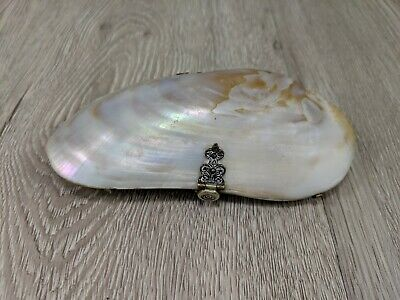 Vintage Antique Shell Purse Victorian Mother of Pearl Oyster Shell Clutch