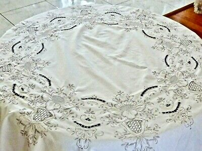 Beautiful Vintage Ecru Cotton Round Madeira Tablecloth C 1960'S