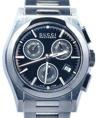 485cad3eab5 GUCCI PANTHEON 115.4 Quartz Chronograph Black Dial Stainless steel Men s