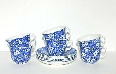 Calico Blue Cup Saucer Sets Crownford Staffordshire