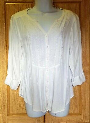 aac2b5165eb ARIAT WOMEN'S WESTERN Shirt White Embroidered Medium Teresa Blouse ...