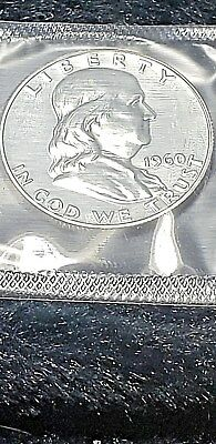1960 Franklin 50c Half Dollar Silver Proof Coin In Cello Exactly Shown Mint Mark