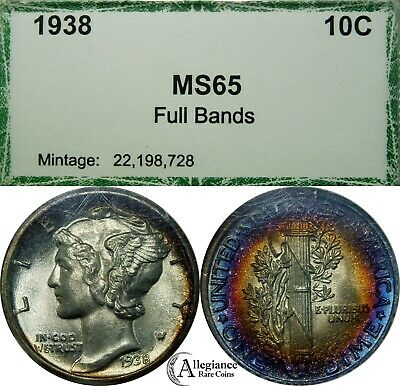 1938 10C MERCURY Silver Dime old PCI holder RAINBOW TONING rare old coin FB  MS