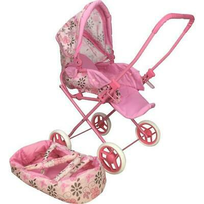 Kids 2in1 Retro Style Doll Pram Stroller with Baby Carrier or Pet Toy Flower
