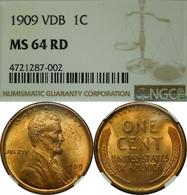 1909 VDB 1c Lincoln Wheat Cent NGC MS64 RD red rare old type coin penny