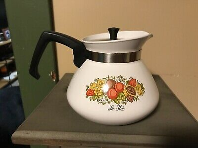 Corning Ware P-104 Spice of Life 6 Cup Coffee Tea Pot with Stainless Lid