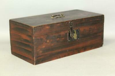 A Fine 19Th C Grain Paint And Decorated Document Box In Original Red & Black