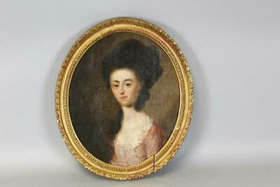 A Fine Early 18Th C Oil/canvas Portrait Of A Fashionable Young Woman Coral Dress