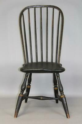 Very Rare 18Th C Ct Bowback Windsor Chair In Old Grungy Paint Unusual Shape Bow