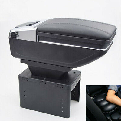 Black PU Leather Car Seat Center Box Armrest Console Storage with Arm Rest Pad