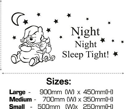 WINNIE the POOH Wall Stickers Night Sleep Tight Quote Art Decal Nursery