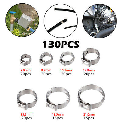 130PCS 304 Stainless Steel Single Ear Stepless Hose Clamps Assortment Rings