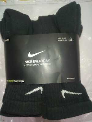 NWT Nike Everyday Mens CREW Socks 6 Pair LARGE Sz 8-12 Dri-Fit CottonTechnology