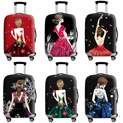 """Printed Lovely Girl Suitcase Protector Dust Cover Luggage Cover Elastic 18"""" -32"""""""