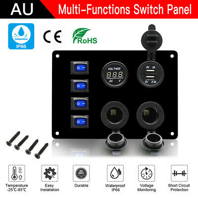 AU 4 Gang ON-OFF Toggle Switch Panel USB 12V for Car Boat Marine RV Truck Camper