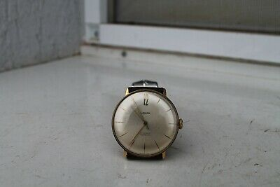 Antique Vintage Old Swiss Lanco Man Wrist Watch 17Jewels Gold Plated