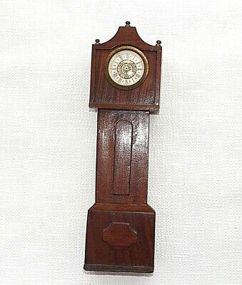 "Miniature grandfather clock 14"" approx Vintage Mantle Shelf Wood West Germany 28"