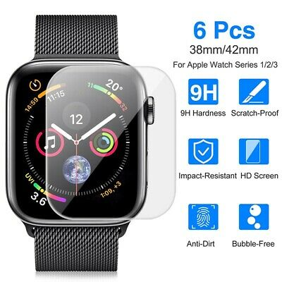 6x 3D Tempered Glass Screen Protector for Apple Watch 38/42mm iWatch Cover