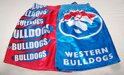 Western Bulldogs AFL Mens Blue Red Printed Satin Boxer Shorts Size M New