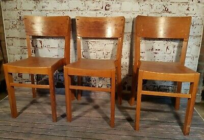 3 Vintage Old Kingfisher Mid Century Wooden Church Chapel Seat Chairs Stacking