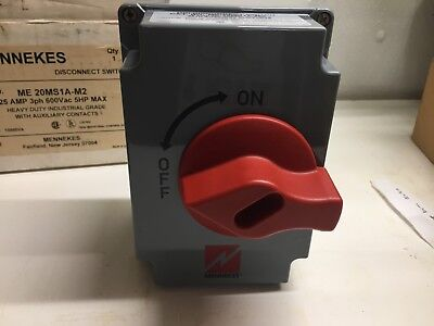 Mennekes Disconnect Switch 25 Amp 3 Phase 5 hp Max ME 20MS1A-M2  with auxiliary