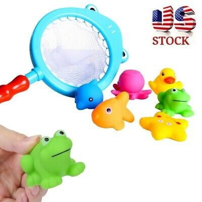Kids Bath Net Fishing Toy Squirters Fish Game In Bathtub Bathroom Pool Fun Toys