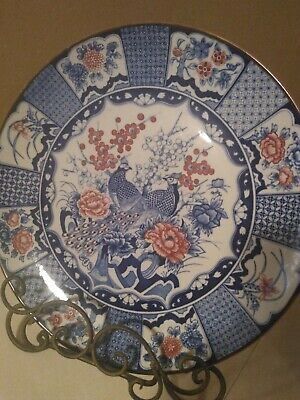 Japanese Imari Style Porcelain Pottery Display Plate, Peacocks And Roses Charger