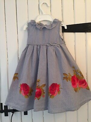 Monsoon Baby Girl's Dress Thin Blue & White Stripes + Roses - Age 12-18 Months