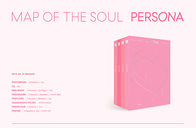 BTS Map of The Soul: Persona Album 4Set CD+Poster+Photobook+Photocard+Film etc