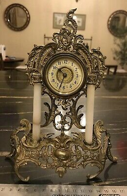Antique French Rococo Style Mantle Clock Gilt Metal And Alabaster Working