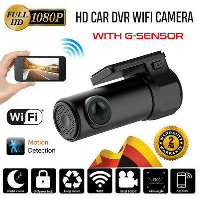 WiFi Auto Kamera 1080P HD Dashcam Mini Recorder KFZ Videorecorder 170° G-Sensor