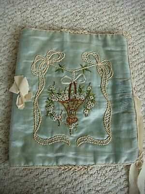 Early Vintage Victorian ? Silk Embroidered Handkerchief Case Knot & Rope Work