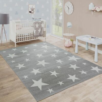 Childrens Stars Mat Kids Playroom Bedroom Grey and White Rug Soft Quality Carpet