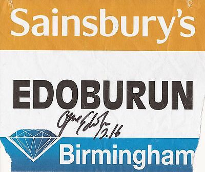 Athletics: Ojie Edoburun Signed Birmingham Diamond League 2015 Worn Bib+Coa