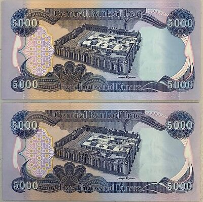 10000 IRAQI DINAR - (2) 5,000 NOTES - CRISP and UNCIRCULATED!! - AUTHENTIC IQD