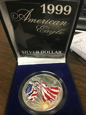1999 Colored Painted US American Eagle .999 Silver Dollar Coin with Box and COA