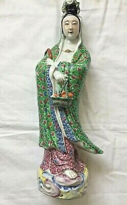 Antique Chinese Famille Rose porcelain Signed Standing Kwan-yin Large Statue.