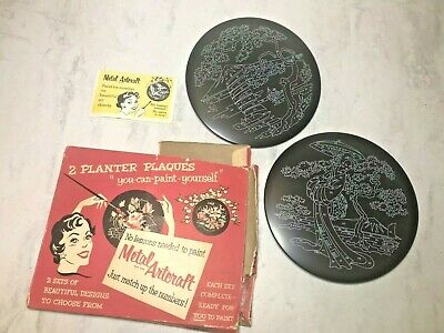 Vtg Paint by Number Metal Artcraft Planters New with Box Set of 2 Oriental