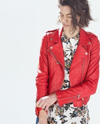 6105a1ecd6aa ZARA Red Real Leather Biker Jacket Elastic Gathered Sides Zip Sleeves