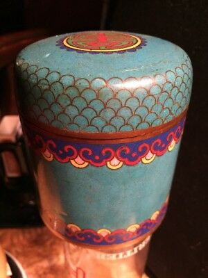 Old Chinese Cloisonne Enamel Tobacco Can Antique Many Colors Blue Brick Gold