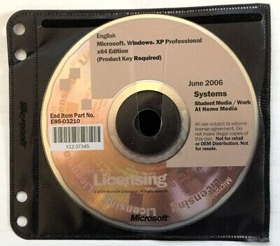Microsoft Windows XP Professional 64 bit X64 - Full Version W/ Product Key Pro