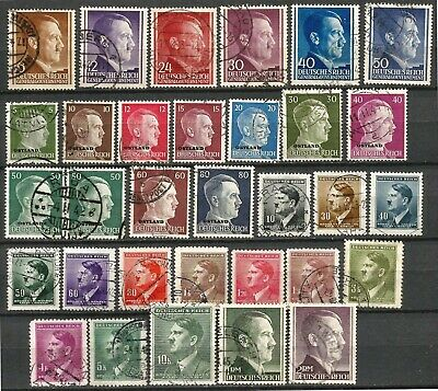 Germany Third Reich Bohemia Ostland Gen Gvt 1941-1944 used Hitler Definitives