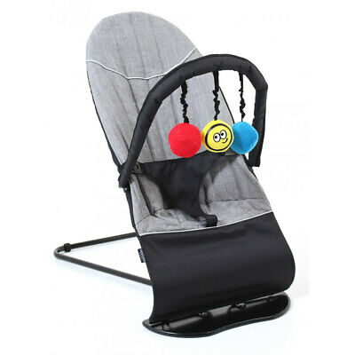 Cushioned Rocker Bouncer Vee Bee Baby Minder for Infant Seat Chair Toys Gray