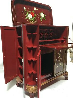 Oriental Furniture Burgundy Lacquer Bar Cabinet
