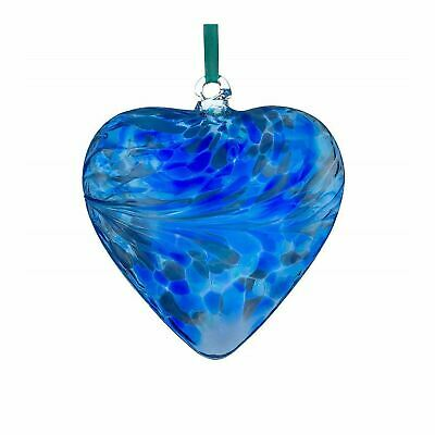 Sienna Glass Blue 8cm Friendship Heart Hanging Hand Crafted Ornament Gift Idea