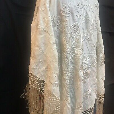 Antique Large Ivory Silk Embroidered Deco Piano Shawl