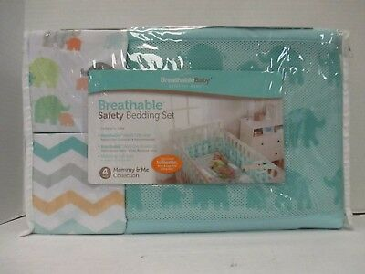 Breathable Baby Mommy & Me Safety Bedding Set - 4 Pc - Teal/elephant - Rc 9148