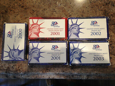 2000 2001 2002 2003 Us Mint Silver Proof & Uncirculated Proof Coin Sets